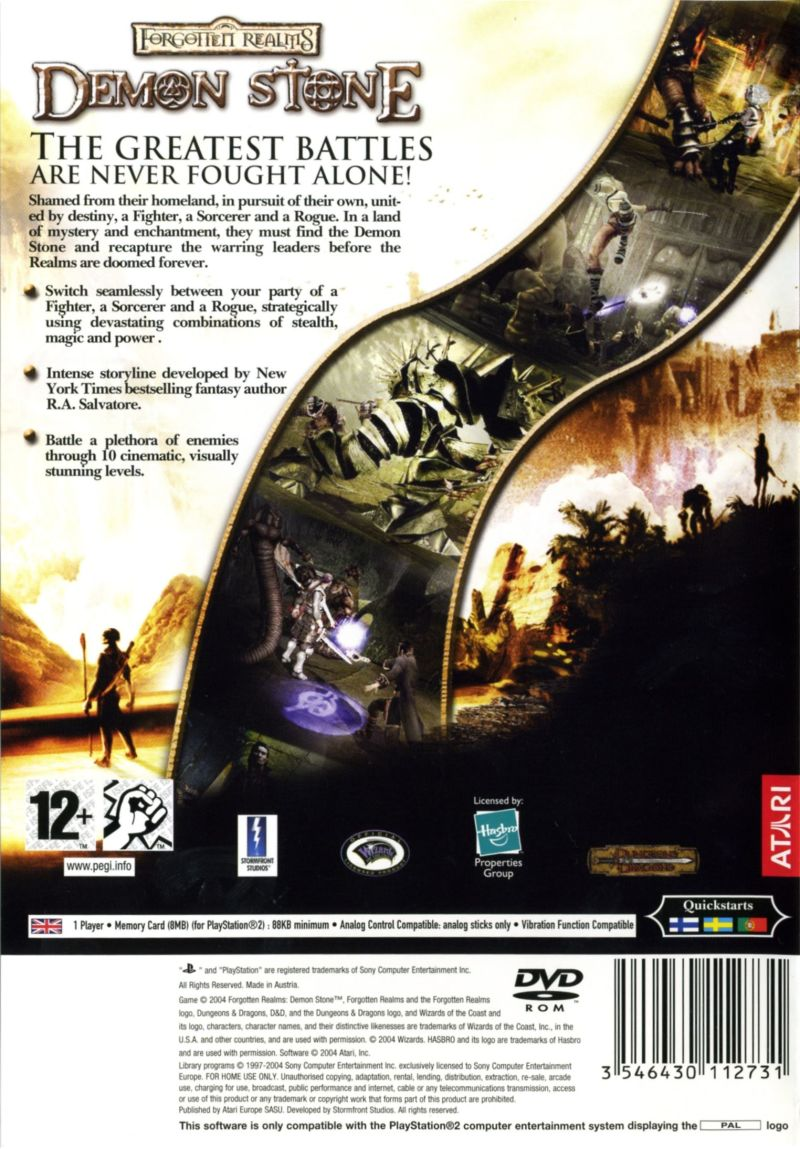 Forgotten Realms: Demon Stone PlayStation 2 Back Cover