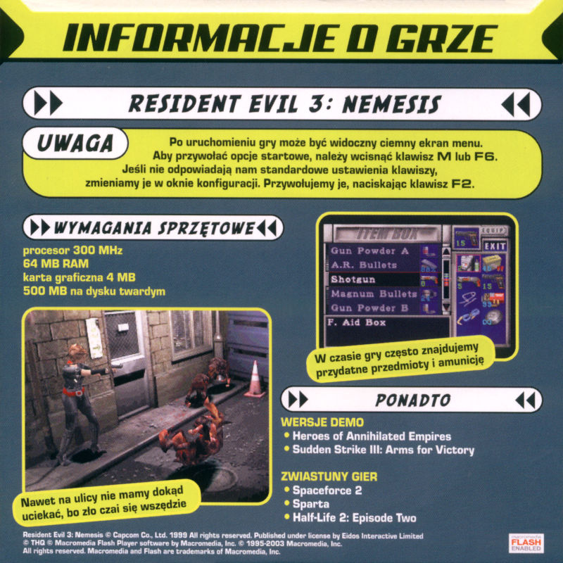 Resident Evil 3: Nemesis Windows Back Cover Disc 2/2