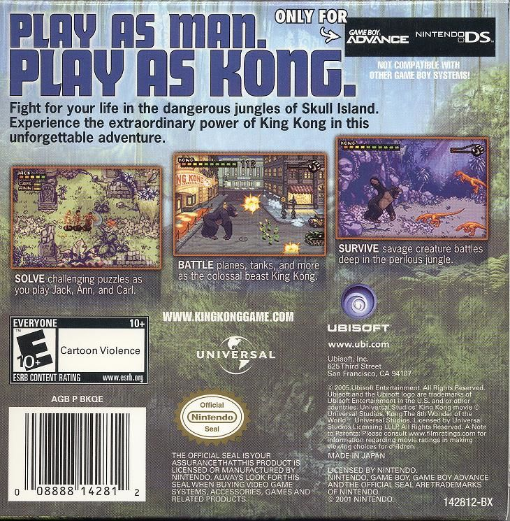 Kong: The 8th Wonder of the World Game Boy Advance Back Cover