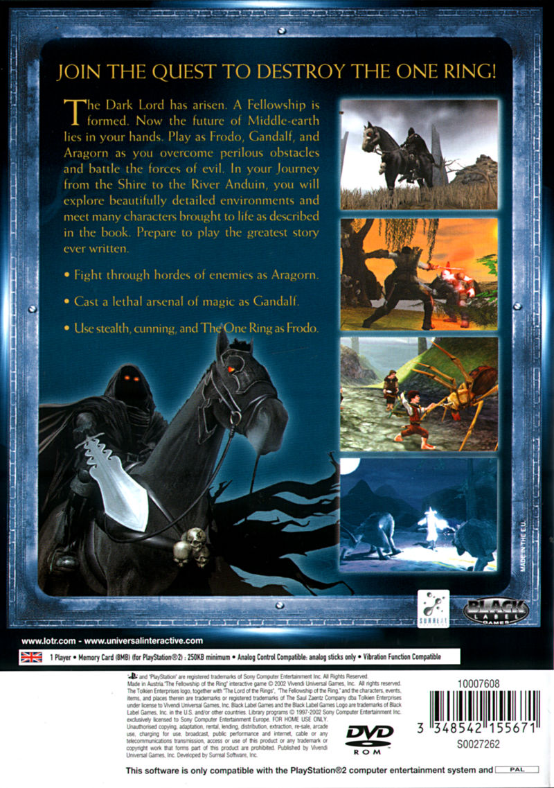 The Lord of the Rings: The Fellowship of the Ring PlayStation 2 Back Cover