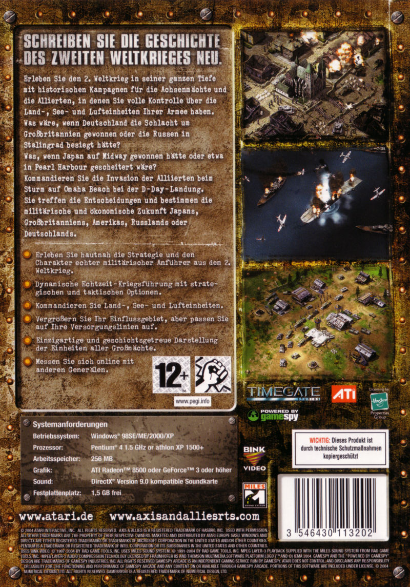 Axis & Allies Windows Back Cover
