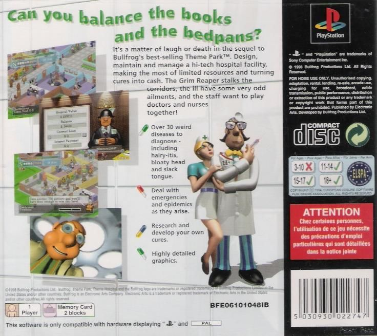 Theme Hospital PlayStation Back Cover
