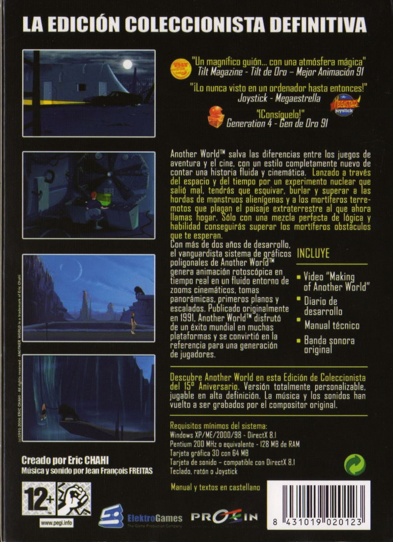 Another World: 15th Anniversary Edition Windows Back Cover