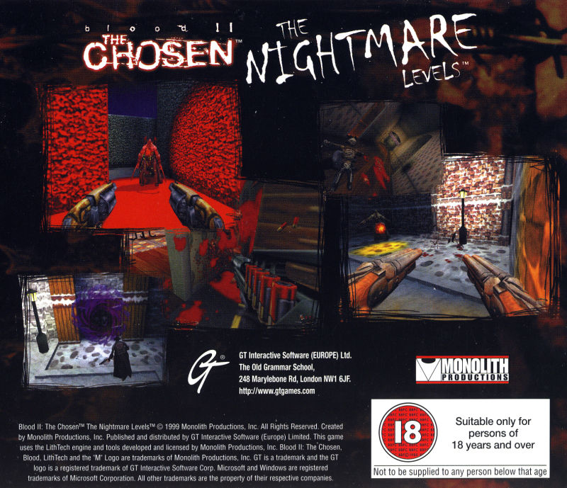 Blood II: The Chosen - The Nightmare Levels Windows Other Jewel Case - Back