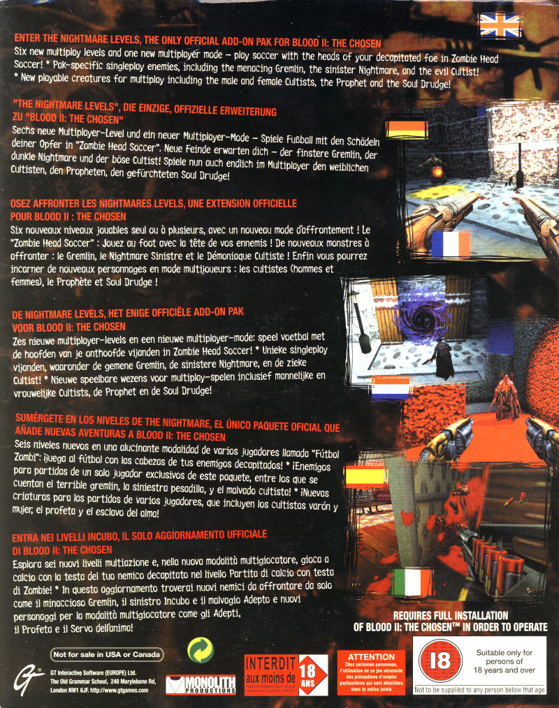 Blood II: The Chosen - The Nightmare Levels Windows Back Cover