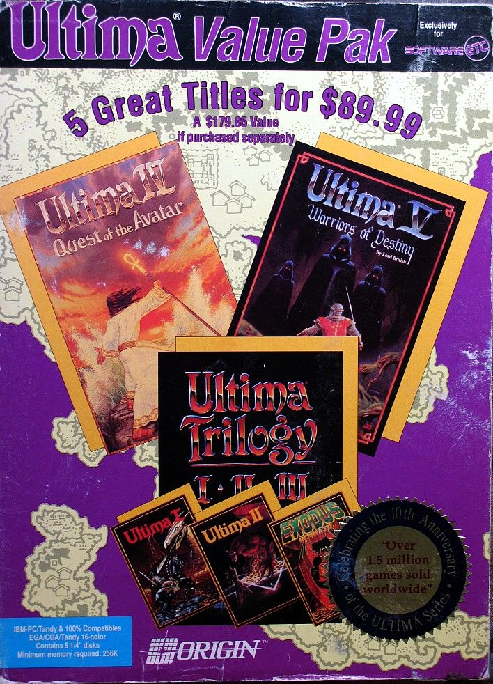 Ultima Value Pak DOS Front Cover