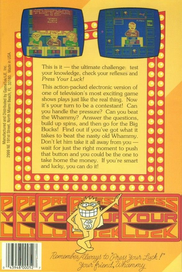 Press Your Luck DOS Back Cover