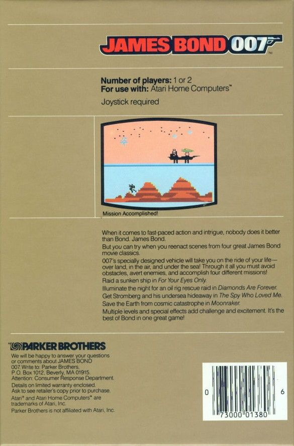 James Bond 007 Atari 8-bit Back Cover