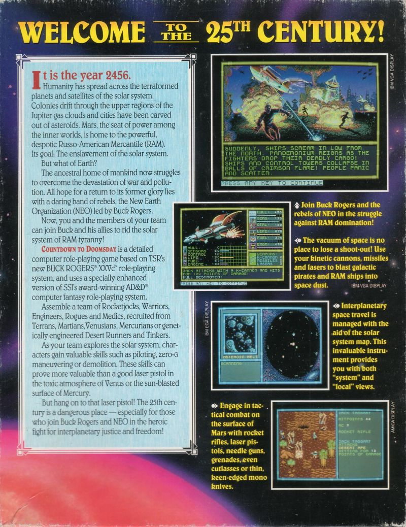 Buck Rogers: Countdown to Doomsday Amiga Back Cover