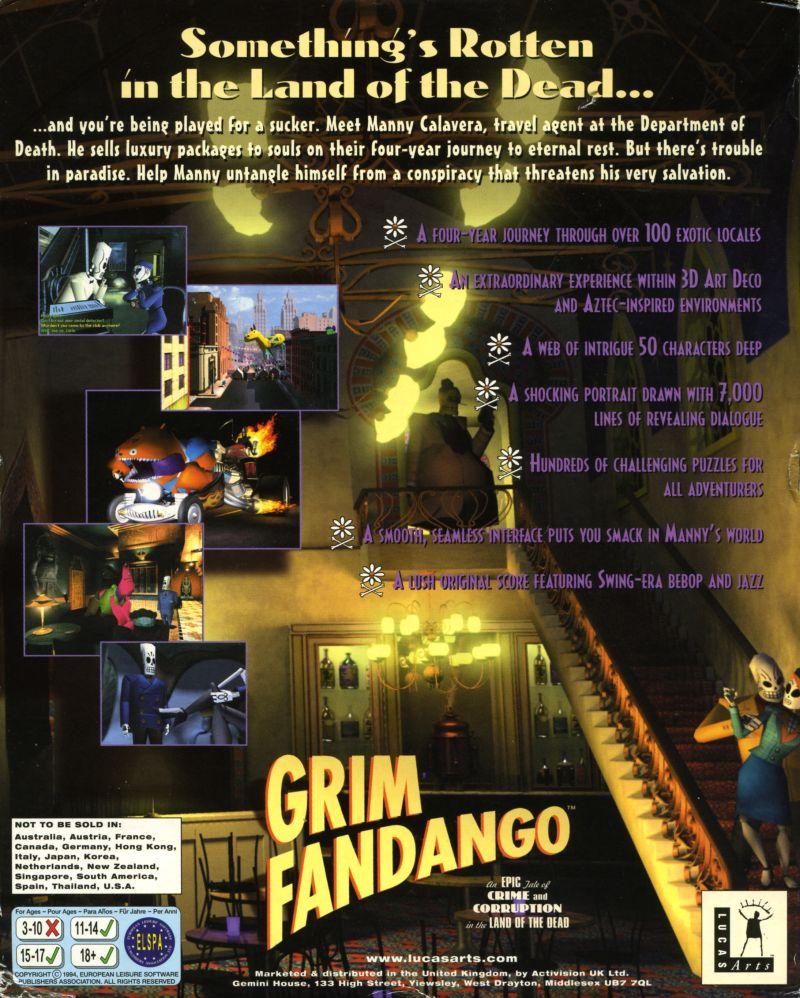 Grim Fandango Windows Back Cover