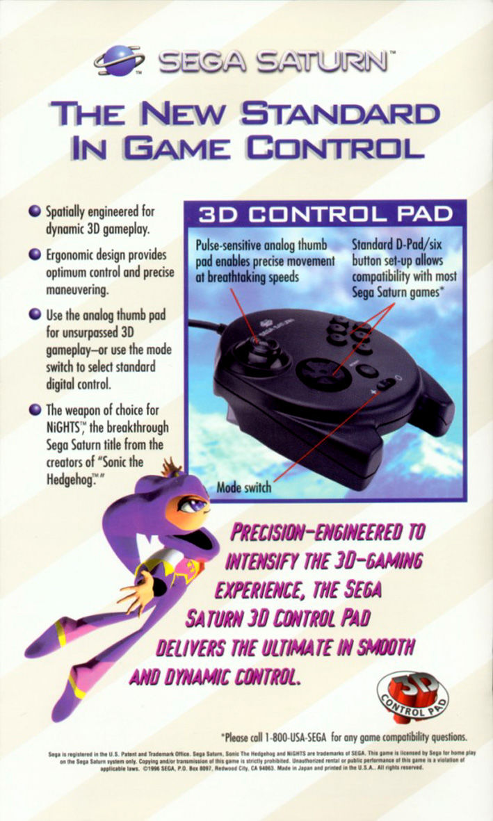 NiGHTS into Dreams... SEGA Saturn Inside Cover
