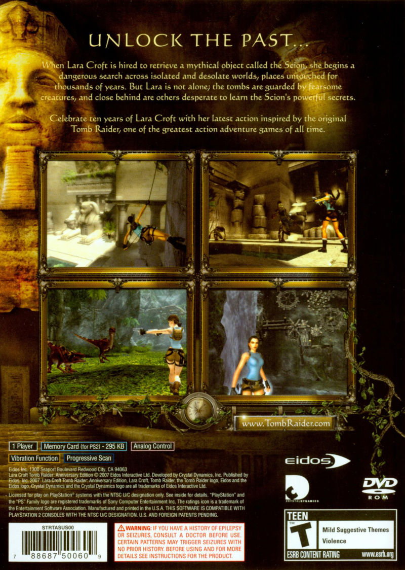 Lara Croft Tomb Raider: Anniversary PlayStation 2 Back Cover