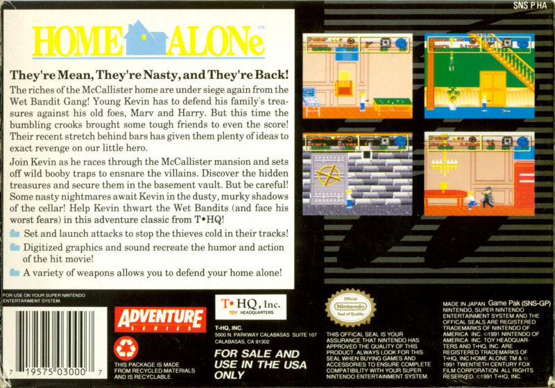 Home Alone SNES Back Cover