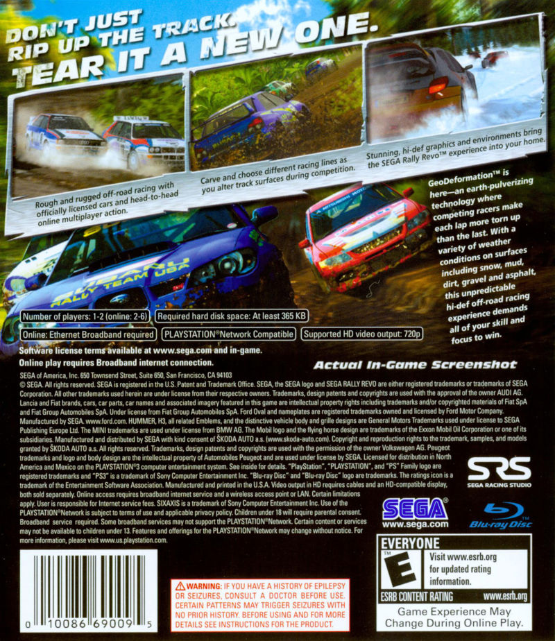 SEGA Rally Revo PlayStation 3 Back Cover