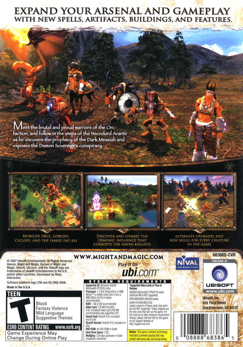 Heroes of Might and Magic V: Tribes of the East Windows Back Cover