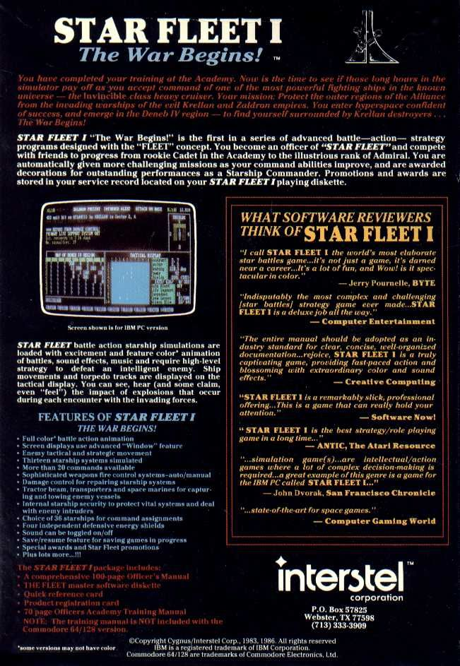 Star Fleet I: The War Begins! Apple II Back Cover
