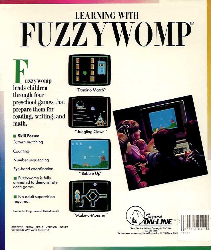Learning with FuzzyWOMP Apple II Back Cover