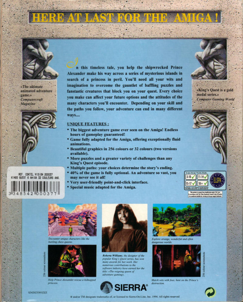 King's Quest VI: Heir Today, Gone Tomorrow Amiga Back Cover