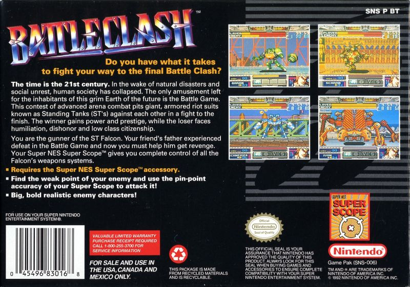 Battle Clash SNES Back Cover