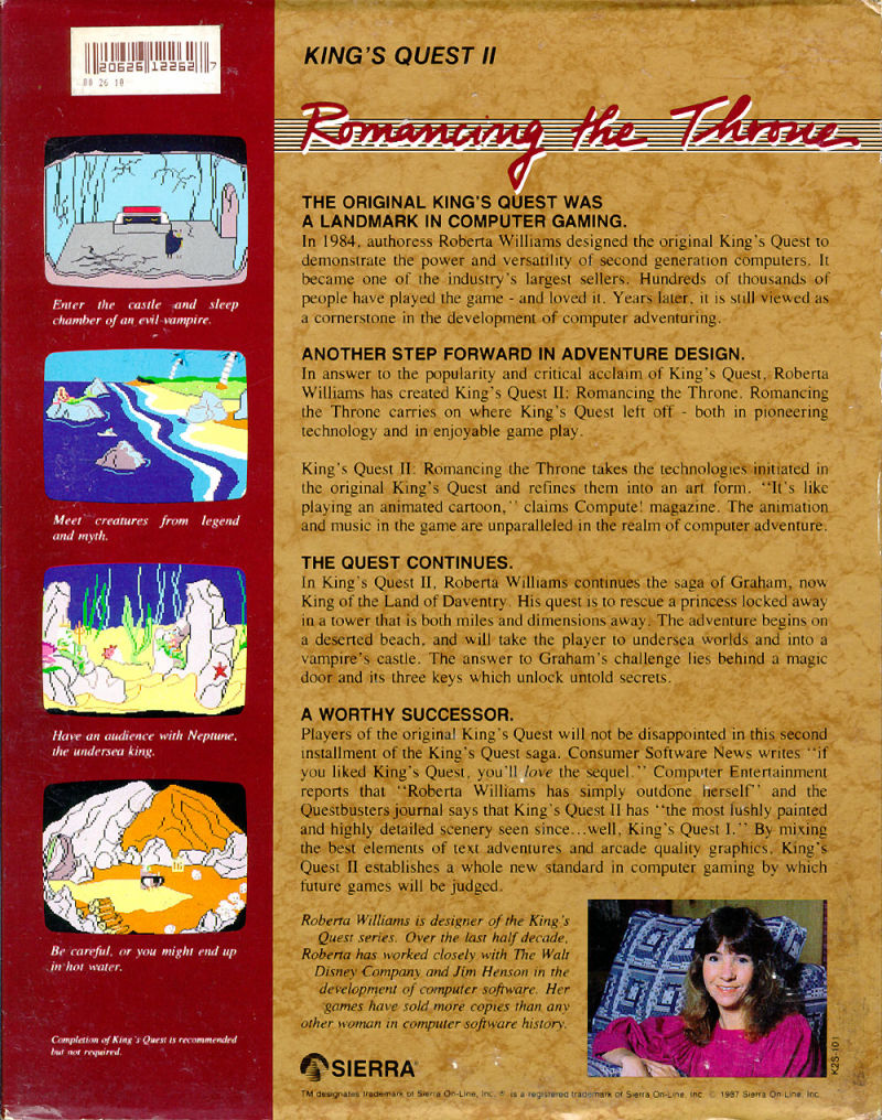 King's Quest II: Romancing the Throne Apple IIgs Back Cover