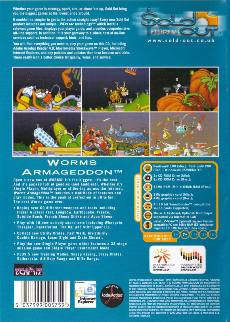 Worms Armageddon Windows Back Cover