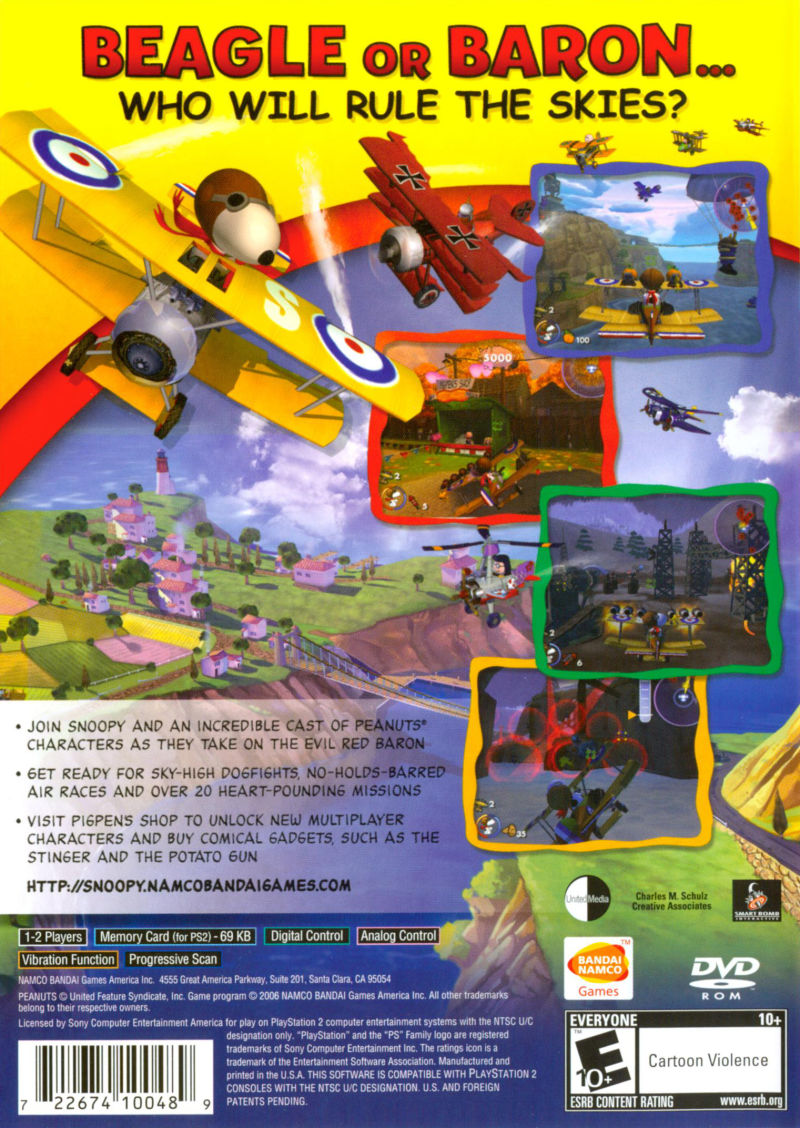 Snoopy vs. the Red Baron PlayStation 2 Back Cover
