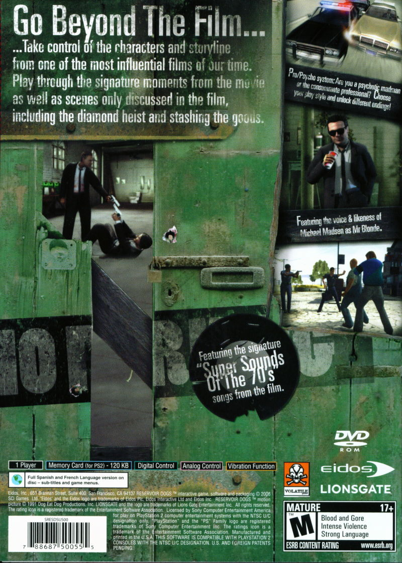 Reservoir Dogs PlayStation 2 Back Cover