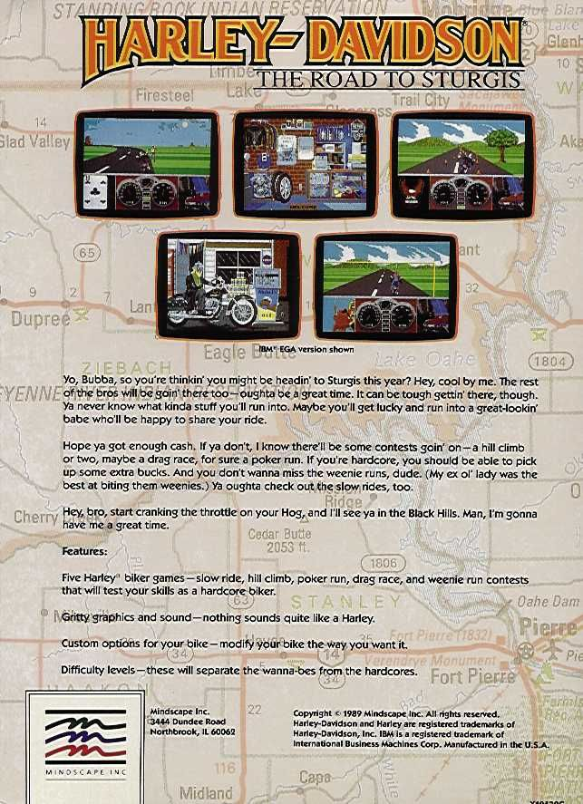 Harley-Davidson: The Road to Sturgis Amiga Back Cover
