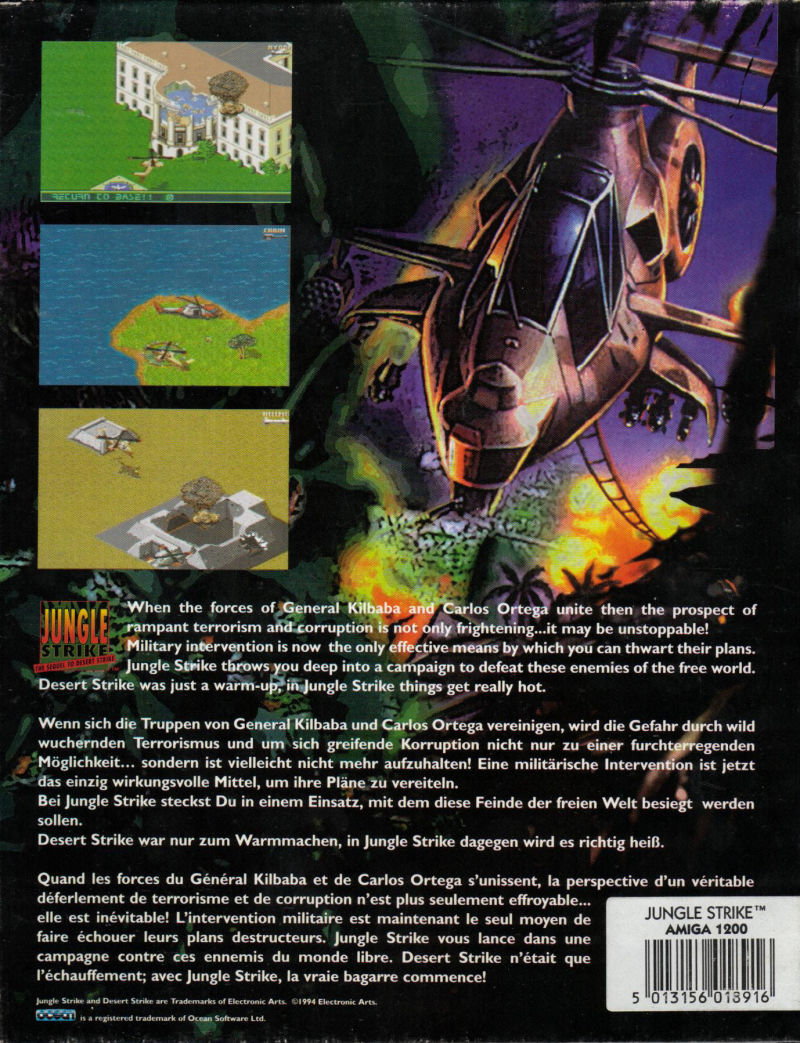 Jungle Strike Amiga Back Cover
