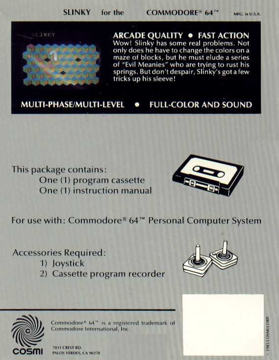 Slinky Commodore 64 Back Cover