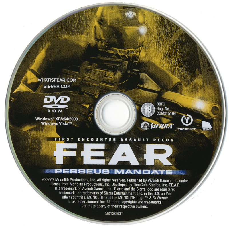 F.E.A.R.: Perseus Mandate Windows Media Game Disc