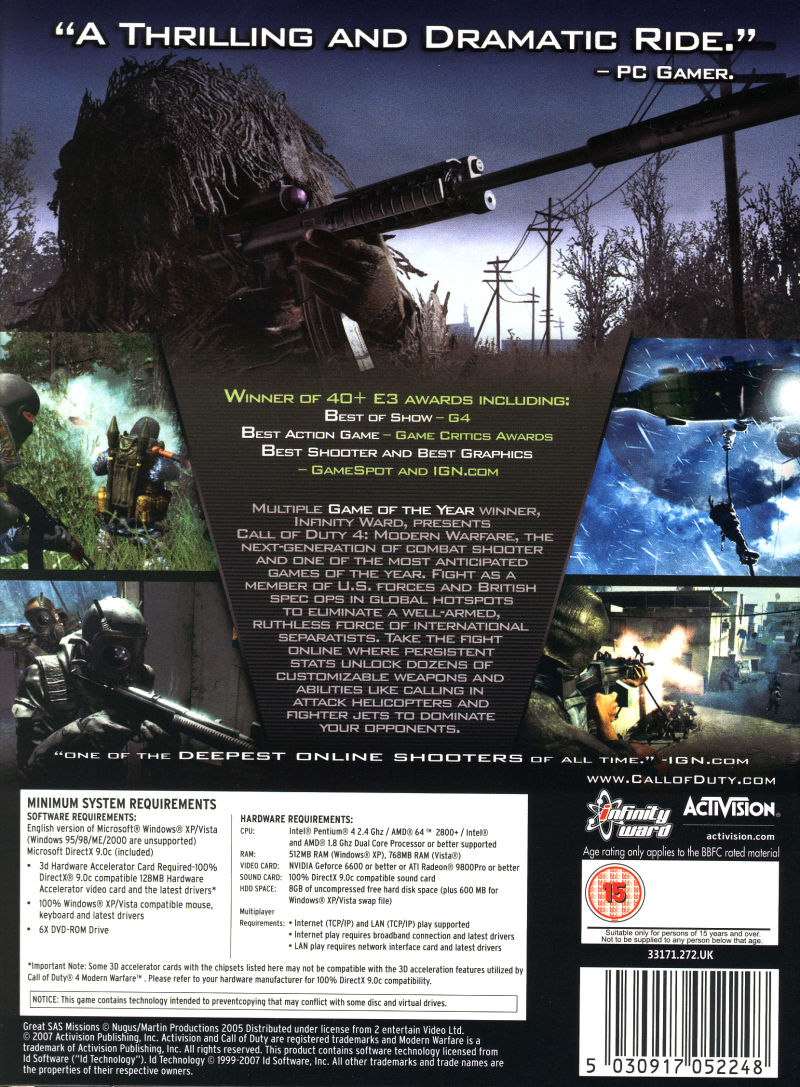 Call of Duty 4: Modern Warfare (Limited Collector's Edition) Windows Back Cover