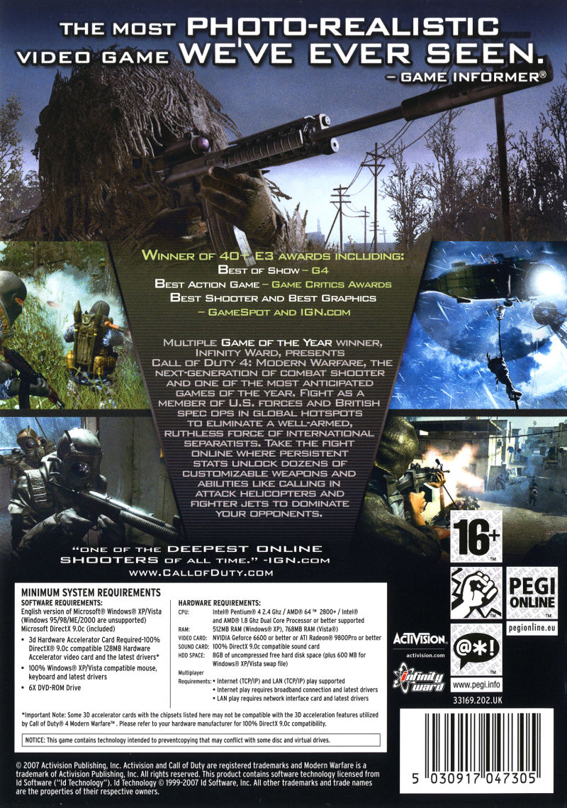 Call of Duty 4: Modern Warfare (Limited Collector's Edition) Windows Other Keep Case - Back