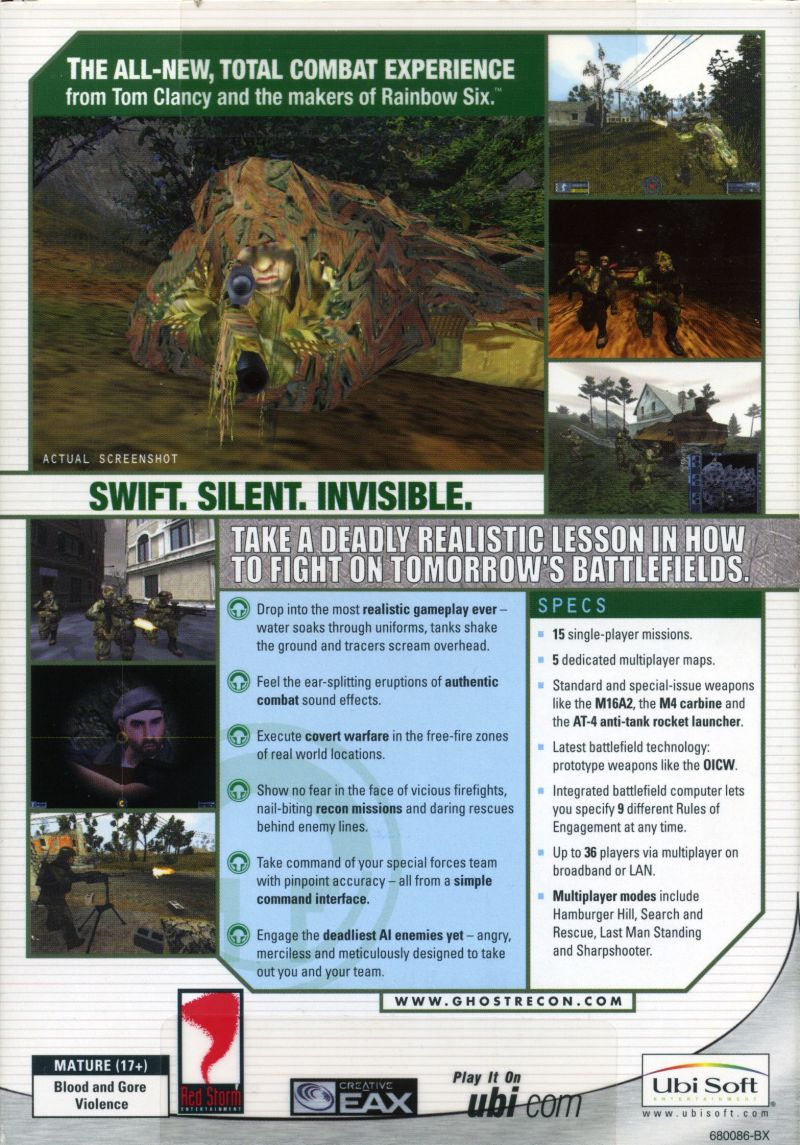 Tom Clancy's Ghost Recon Windows Back Cover