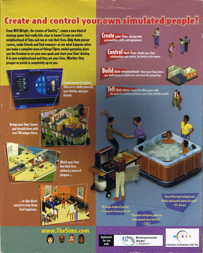 The Sims Windows Back Cover