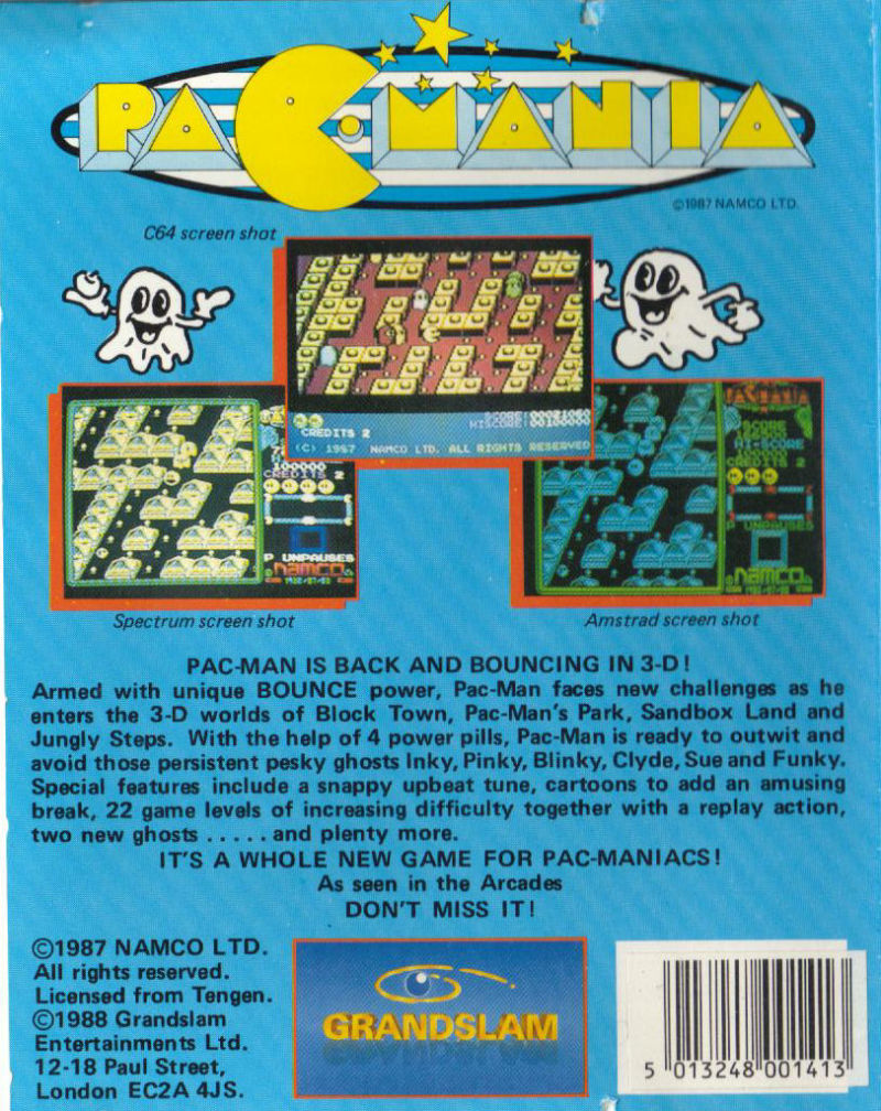 Pac-Mania Commodore 64 Back Cover