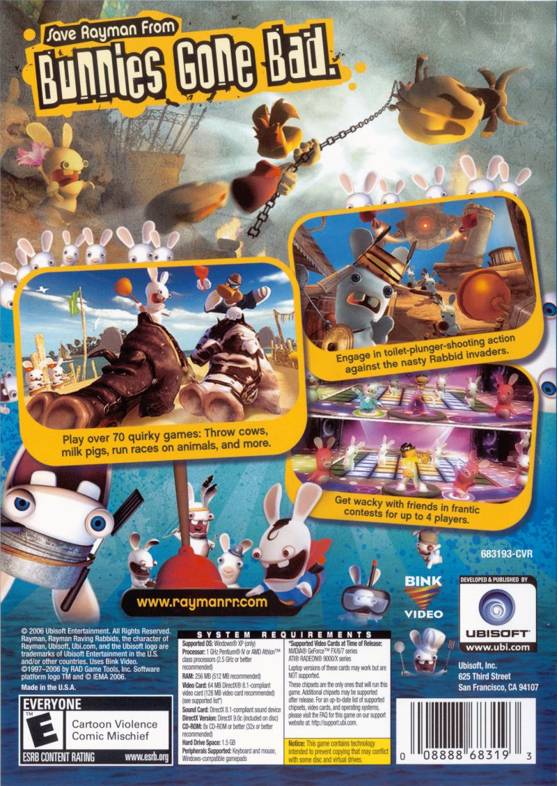 Rayman Raving Rabbids Windows Back Cover