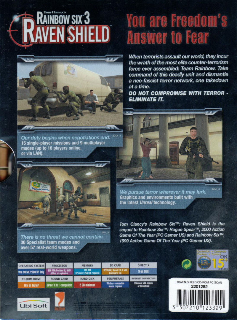 Tom Clancy's Rainbow Six 3: Raven Shield Windows Back Cover