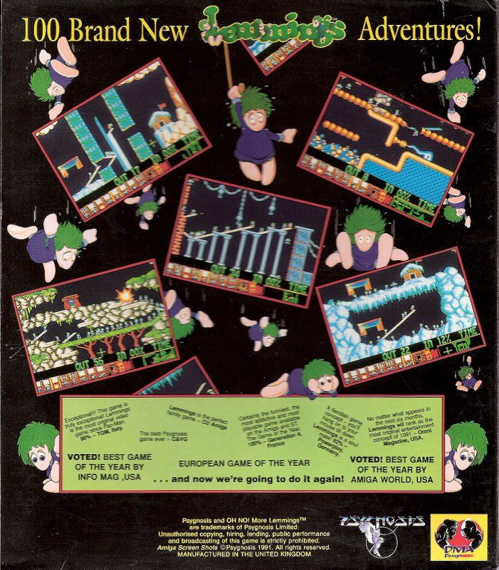 Oh No! More Lemmings Atari ST Back Cover