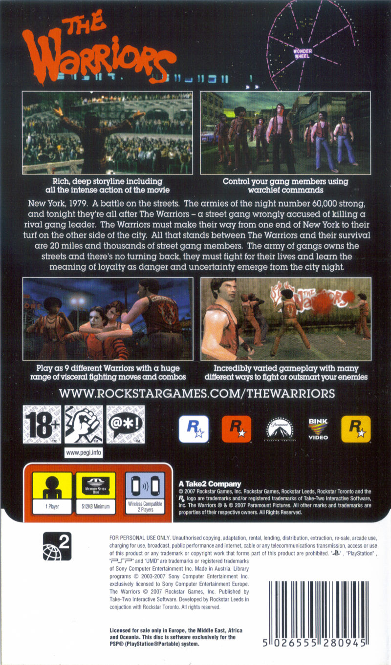 The Warriors PSP Back Cover