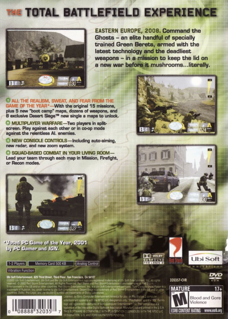 Tom Clancy's Ghost Recon PlayStation 2 Back Cover