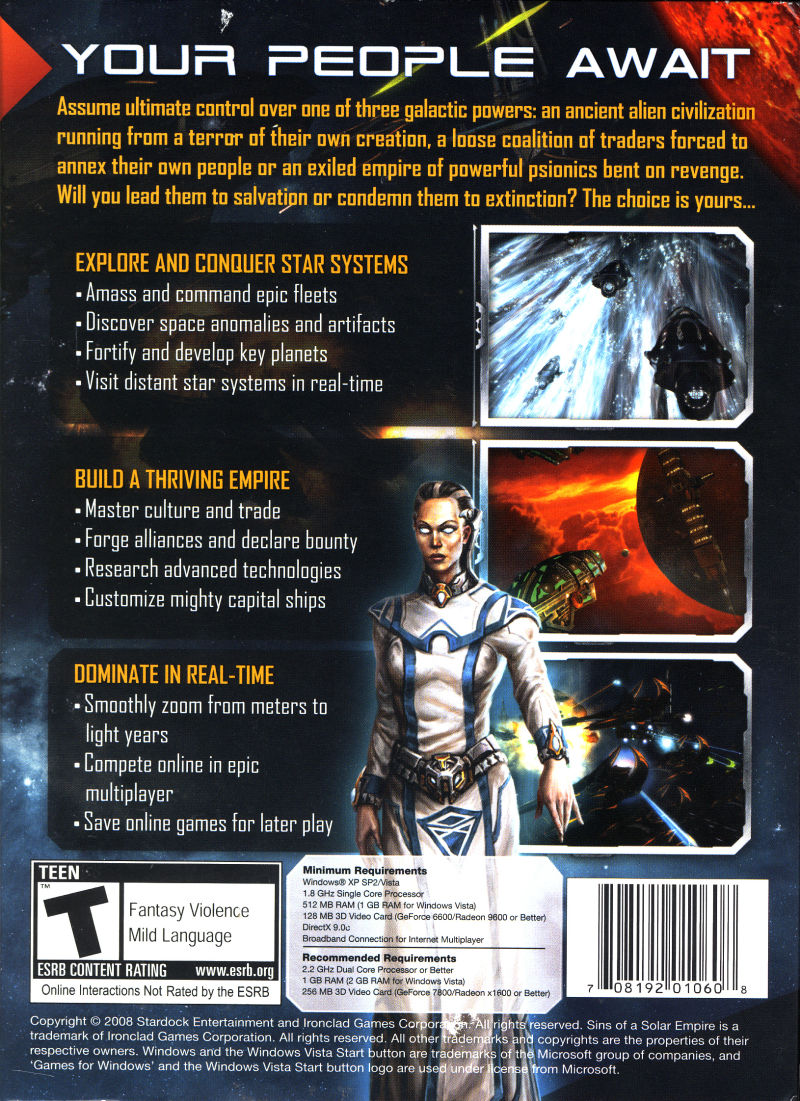 Sins of a Solar Empire Windows Back Cover