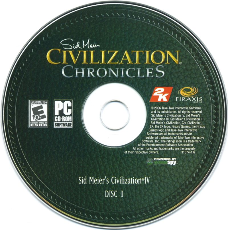 Sid Meier's Civilization Chronicles Windows Media Civilization IV - Disc 1/2