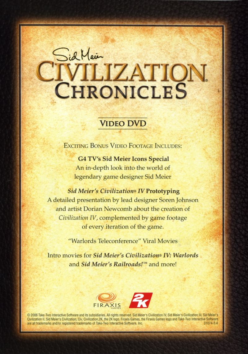 Sid Meier's Civilization Chronicles Windows Other Video DVD Keep Case - Back