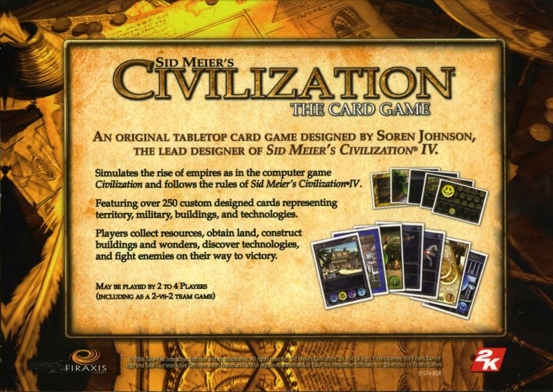 Sid Meier's Civilization Chronicles Windows Other Card Game Slip Cover - Back