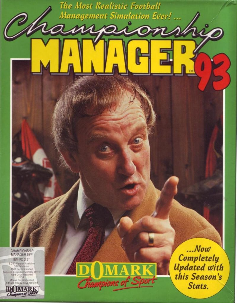 Championship Manager 93 DOS Front Cover