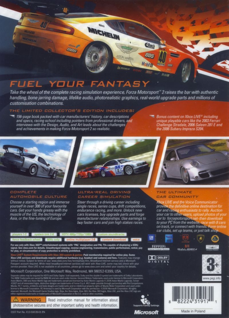 Forza Motorsport 2 (Limited Collector's Edition) Xbox 360 Back Cover