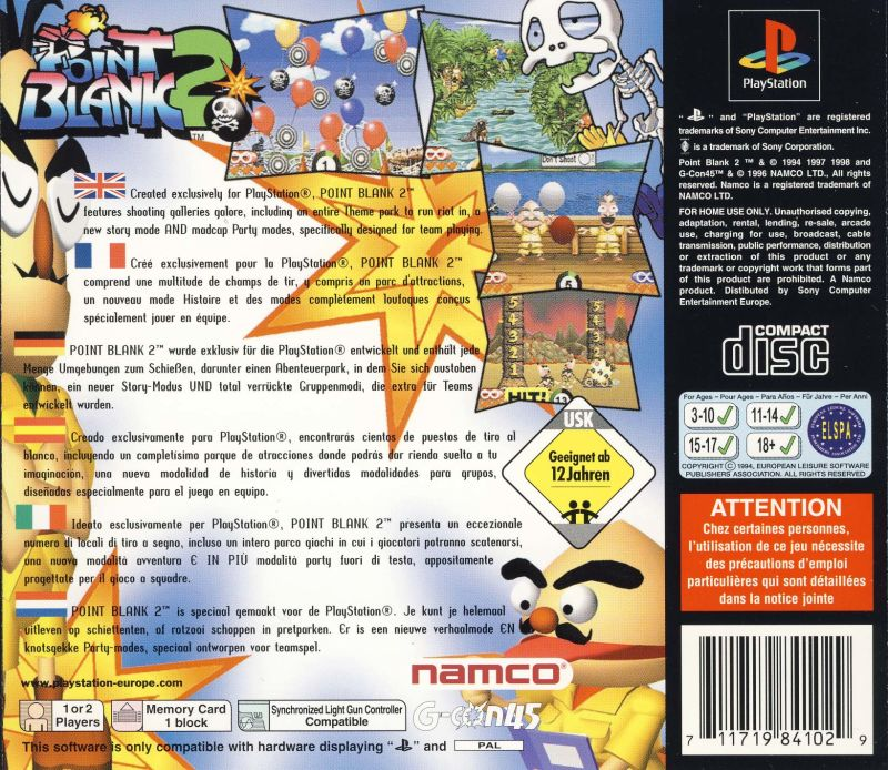 Point Blank 2 PlayStation Back Cover
