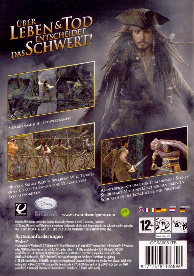 Disney Pirates of the Caribbean: At World's End Windows Back Cover