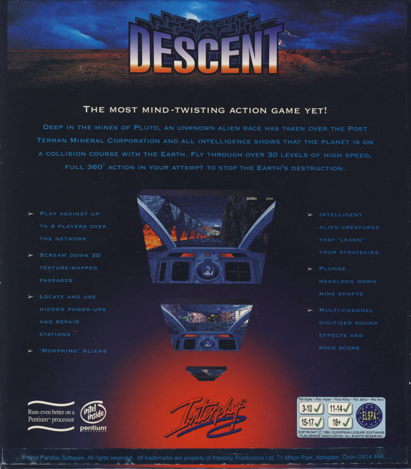 Descent DOS Back Cover